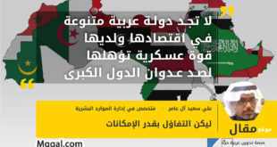 لا تجد دولة عربية متنوعة في اقتصادها ولديها قوة عسكرية تؤهلها لصد عدوان الدول الكبرى