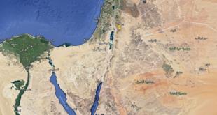 خارطة غزة وسيناء من جوجل إيرث