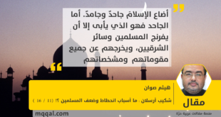 شكيب أرسلان : ما أسباب انحطاط وضعف المسلمين ؟! (11 / 16 ) بقلم : هيثم صوان