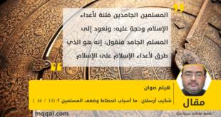 شكيب أرسلان : ما أسباب انحطاط وضعف المسلمين ؟! (13 / 16 ) بقلم : هيثم صوان