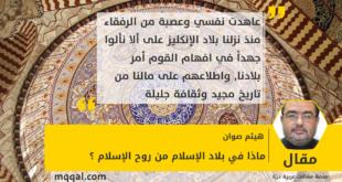 ماذا في بلاد الإسلام من روح الإسلام ؟ بقلم: هيثم صوان