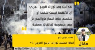 لماذا فشلت ثورات الربيع العربي ..؟؟ بقلم: محمد حبش كنو