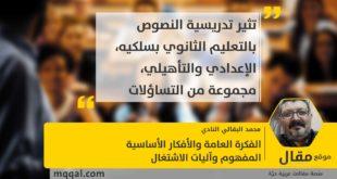 الفكرة العامة والأفكار الأساسية، المفهوم وآليات الاشتغال بقلم: محمد البقالي النادي