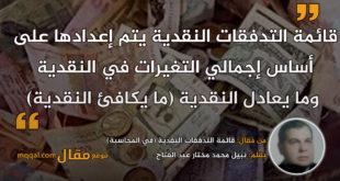 قائمة التدفقات النقدية (في المحاسبة). بقلم: نبيل محمد مختار عبد الفتاح.