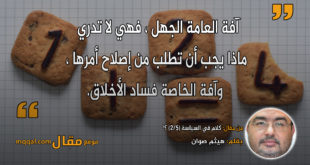 كلام في السياسة (2/5) ؟!|| بقلم: هيثم صوان|| موقع مقال