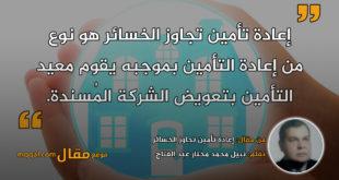 إعادة تأمين تجاوز الخسائر|| بقلم: نبيل محمد مختار عبد الفتاح|| موقع مقال