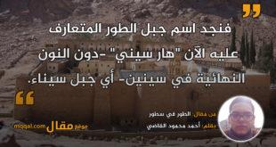 الطور في سطور || بقلم: أحمد محمود القاضي|| موقع مقال