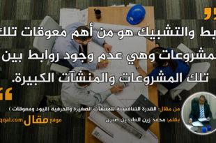 القدرة التنافسية للمنشآت الصغيرة والحرفية || بقلم: محمد زين العابدين صبرى|| موقع مقال
