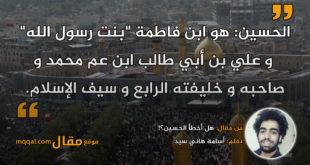 هل أخطأ الحسين؟!|| بقلم: أسامة هاني سيد|| موقع مقال