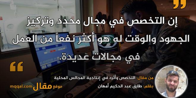 التخصص وأثره في إنتاجية المجالس المحلية. بقلم: طارق عبد الحكيم أمهان || موقع مقال