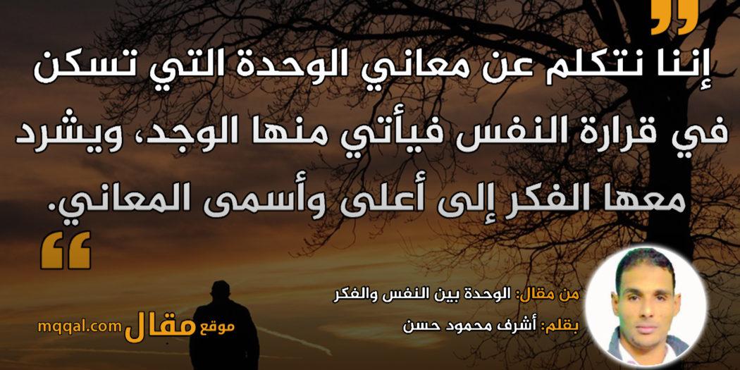 الوحدة بين النفس والفكر|| بقلم: اشرف محمود حسن|| موقع مقال