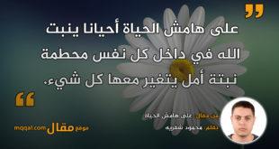 على هامش الحياة|| بقلم: محمود شقريه|| موقع مقال