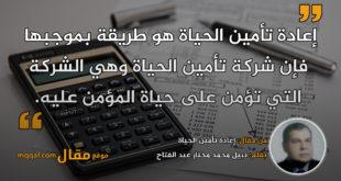 إعادة تأمين الحياة|| بقلم: نبيل محمد مختار عبد الفتاح|| موقع مقال
