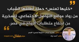 عالجوا أسباب «خليها تعنس» #مصر . بقلم: أحمد زياد. || موقع مقال