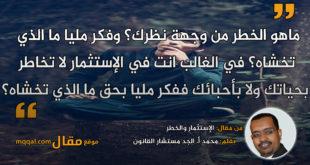 الإستثمار والخطر. بقلم: محمد أ. الجد مستشار القانون/وريادة الأعمال . || موقع مقال