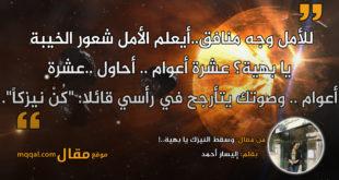 وسقط النيزك يا بهية..! بقلم: إليسار أحمد . || موقع مقال