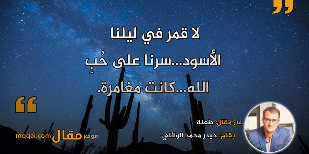 طعنة. بقلم: حيدر محمد الوائلي || موقع مقال