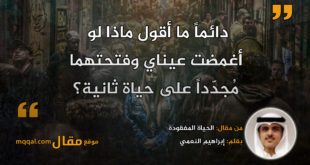 الحياة المفقودة|| بقلم: إبراهيم النعمي|| موقع مقال