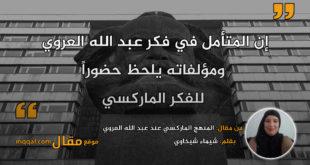 المنهج الماركسي عند عبد الله العروي . بقلم: شيماء شيخاوي || موقع مقال