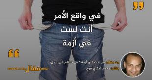 هل أنت في أزمة؟ هل تحتاج إلى عمل؟|| بقلم: محمد شكري فرج|| موقع مقال