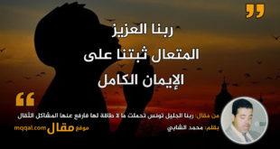 ربنا الجليل تونس وطني تحملت ما لا طاقة لها فارفع عنها المشاكل الثقال|| بقلم: محمد الشابي|| موقع مقال