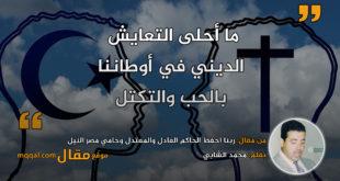 ربنا احفظ الحاكم العادل والمعتدل وحامي مصر النيل|| بقلم: محمد الشابي|| موقع مقال
