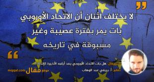 هل بات الاتحاد الأوروبي يعد أيامه الأخيرة كإتحاد؟ بقلم: أ. بريغي عبد الوهاب || موقع مقال