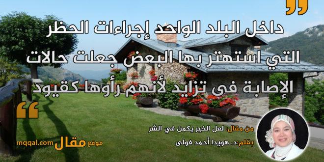 لعل الخير يكمن في الشر. بقلم:د. هويدا أحمد فولى || موقع مقال
