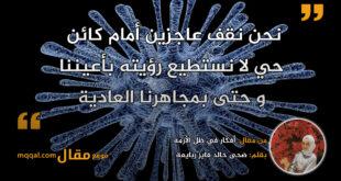 أفكار في ظل الأزمة. بقلم: ضحى خالد فايز ربايعة || موقع مقال