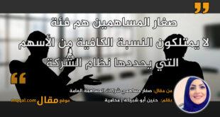 صغار مساهمي شركات المساهمة العامة. بقلم: المحامية حنين أبو شبيكة || موقع مقال