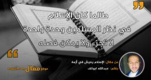 الإسلام يعيش في أزمة.بقلم: عبدالله ابوكف || موقع مقال