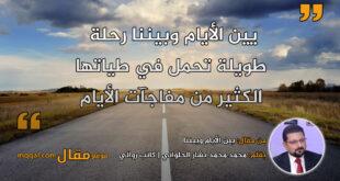 بين الأيام وبيننا. بقلم: محمد محمد بشار الحلواني || موقع مقال