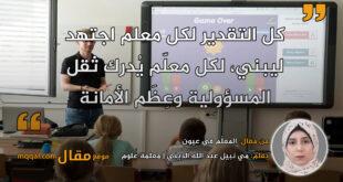 المعلّم في عيون. بقلم: مي نبيل عبد الله الديني || موقع مقال