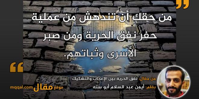 نفق الحرية بين الإعجاب والتشكيك || بقلم: أيمن عبد السلام أبو سته || موقع مقال
